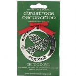 Silver Plated Christmas Decoration Celtic Dove England 0948
